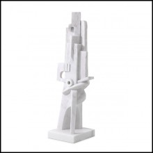 Decorative object in cubist style in white marble 24-Atticus