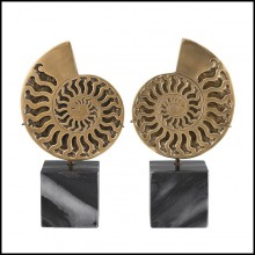 Set de 2 objets décoratifs Ammonite finition laiton antique 24-Ammonite
