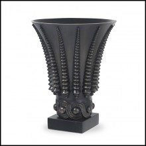 Vase style Art-Deco en laiton finition bronze highlight et base en granite noir 24-Coral
