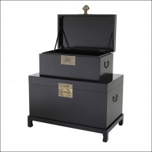 Set of 2 Chests in solid wood black finish and antique brass hardware finish 24-Kani
