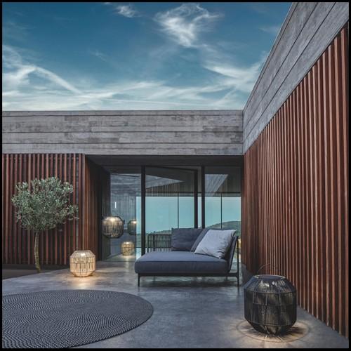 Set de 3 Malles style vintage couvert avec tissus Mustique green et finition en cuir noir 24-Bittersweets
