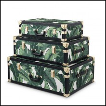 Set of 3 Trunks in vintage style upholstered with Mustique green fabric and black leather finish 24-Bittersweets