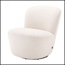 Armchair in boudoir style with swivel base upholstered with boucle cream fabric 24-Doria