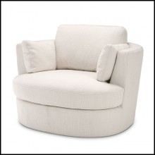Armchair with swivel base upholstered with avalon white fabric with two cushions 24-Clarissa