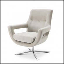 Armchair on swivel base nickel finish and covered with pebble grey 24-Flavio
