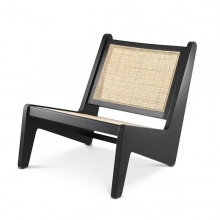 Armchair in vintage style in solid wood in classic black finish and rattan 24-Aubin