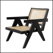 Armchair vintage style in solid wood classic black finish and rattan 24-Aristide