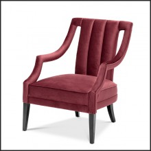 Armchair in black solid wood covered with bordeaux velvet 24-Ermitage