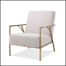 Armchair in gold finish covered with panama natural 24-Antico