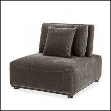 Armchair contemporary style in black wood and covered with granite grey fabric 24-Mondial