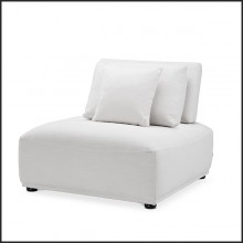 Armchair contemporary style in black wood and covered with Avalon white 24-Mondial