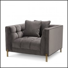 Armchair in brushed brass finis covered with Savona grey velvet 24-Sienna