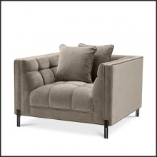 Armchair in black finish covered with Savona grey velvet 24-Sienna