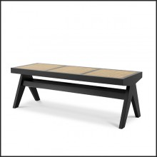 Banc style vintage en bois massif finition classic black et rotin naturel 24-Arnaud