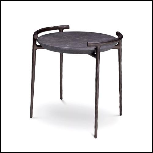Console en aluminium finition light bronze avec plateau effet relief bois 24-Zino