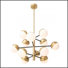 Chandelier with structure in antique brass and black finish and glass globes 24-Cona S