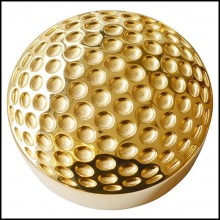 Paperweight in solid brass with golf ball pattern PC-Golf Gold