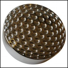 Paperweight in solid brass in ruthenium finish with golf ball pattern PC-Golf Ruthenium