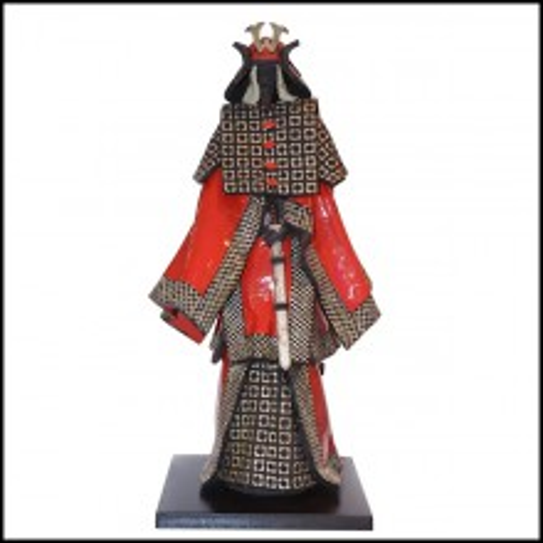 Samourai Sculpture in Raku ceramic PC-Samurai Raku Red & Silver