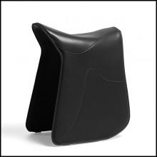 Stool saddle shape in black leather 107-Cavallero Black