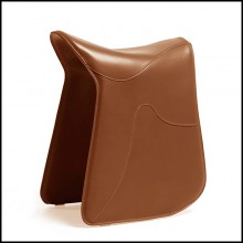 Stool saddle shape in full grain brown leather 107-Cavallero Brown