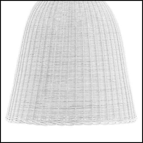 Table à manger en bois d'acajou laquée blanc et laiton poli 145-Majestic Round White
