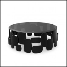 Coffee table in glossy varnish finish and smocked glass 155-Black Pebb
