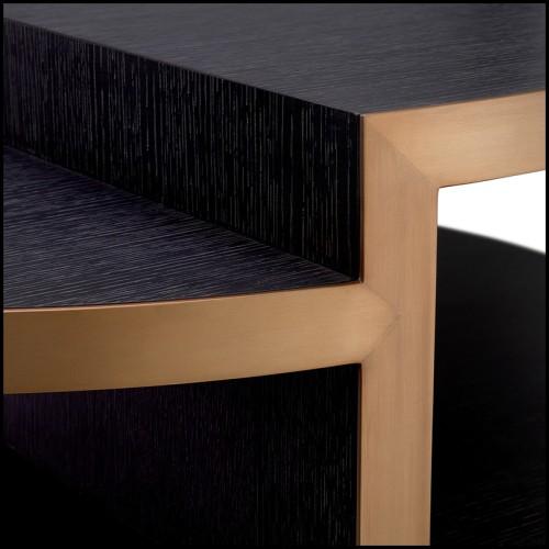 Pouf en bois massif noir rembourré et couvert avec tissu gris souris 24-Clifford