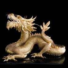 Sculpture dragon in porcelain and gold-plated 24k gold 196-Gold Dragon