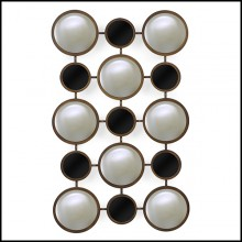 Mirror in bronze finish and black glass rounds 119-Rings Convex