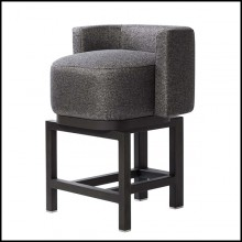 Bar stool in solid walnut with cashmere and wool fabric 189-Bergam