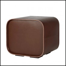 Tabouret en forme de cube en cuir marron 189-Cube Leather