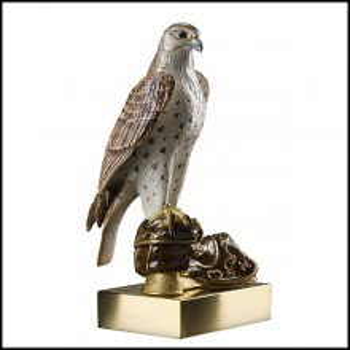 Sculpture Faucon en porcelaine avec finition en or 24k 196-Falcon