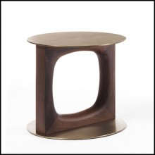 Side table in solid walnut base and tops in brushed brass finish 163-Finestre