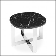 Side table in chrome finish with black marble top 162-Nolan Chrome