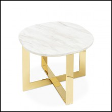 Side table in gold finish with white marble top 162-Nolan Gold