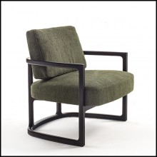 Armchair in solid ash wood and green velvet 163-Partner