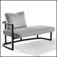 Meridienne in solid ashwood with light grey fabric 163-Partner Left