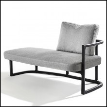 Meridienne in solid ash wood with ligt grey fabric 163-Partner Right
