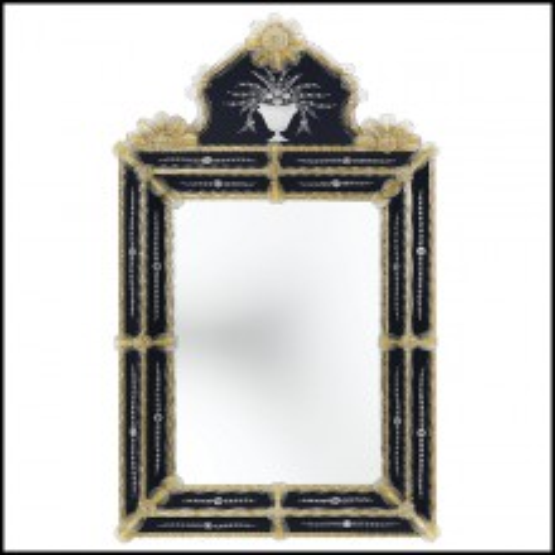 Miroir avec verre miroir central avec cadre en verre or et bleu foncé 182-Ravenne