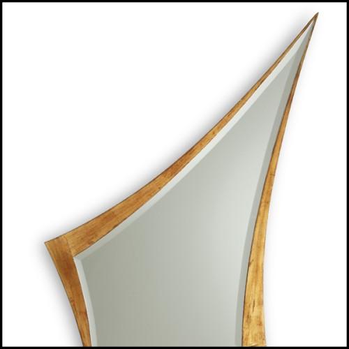Miroir avec verre miroir biseauté et feuille argent antique 182-Ronds