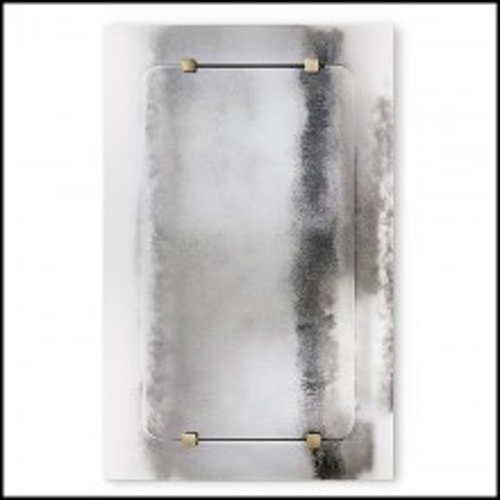 Miroir en métal et verre clair avec laiton antique 182-Thunder