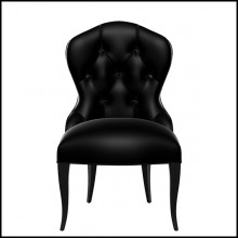 Chair in solid mahogany covered with grained black leather 119-Capiton Dark