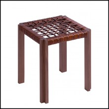 Stool in solid walnut with enlaced brown leather 189-Enlaced Leather