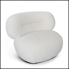 Armchair with foam and with white fluffy fabric 157-Fleecy Lounge