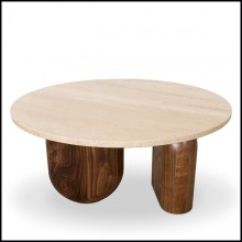 Table basse en noyer et travertin 157-Tessa Round