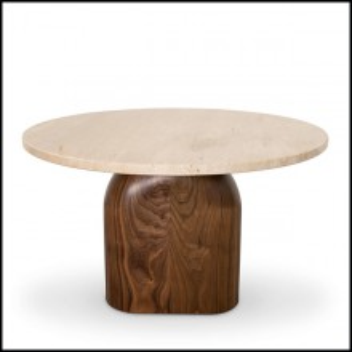 Table d'appoint en noyer massif et travertin 157-Tessa