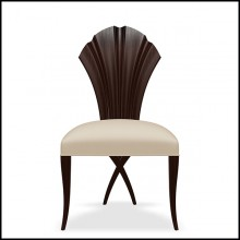 Chair in coffee finish covered with velvet fabric 119-Mahogany Leave