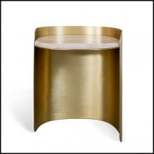 Side Table in aged finish with travertine 157-Curved Brass