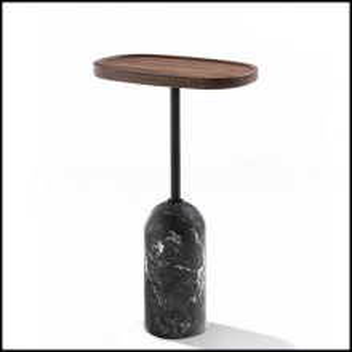 Table d'appoint ovale en marbre et métal avec plateau en noyer 163-Stelle Oval